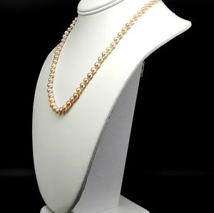 Vintage AAA+ Pink Pearl Necklace, Gorgeous!